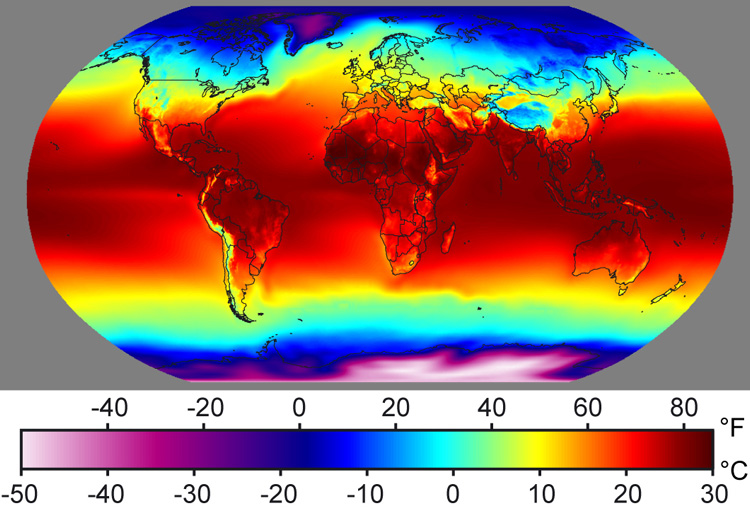 Earth surface air temperatures present day