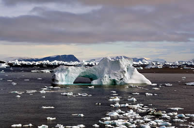 Icebergs floating near Cape York, Greenland