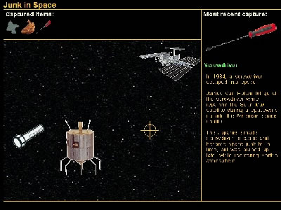 "Like the Earth's environment, the space environment is getting more and more cluttered. There are currently MILLIONS of man-made orbital ruins that make up ""space junk"". Play our <a href=""/games/junk_intro.html"">Junk in Space game</a> and find out about all the junk in space, and how it got there.  Your objective is to capture all the junk you can - but be careful - don't catch a satellite, spacecraft, or an astronaut!  Three strikes and you're out!<p><small><em></em></small></p>"