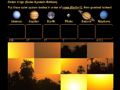 "Does any planet have a stronger magnetic field than Mars? Which planets have a greater mass than Jupiter? Which are denser? Which are larger? Find out while playing the Solar System Edition of <a href=""/games/order_planets_intro.html"">Order It Up</a>!  Measures of size and scale help us understand the magnitude of objects. Play with scales while trying to arrange planets by magnitude of mass, size, temperature, density, distance, gravity or magnetic field. Correctly order the planets and you unscramble a mystery picture!<p><small><em></em></small></p>"