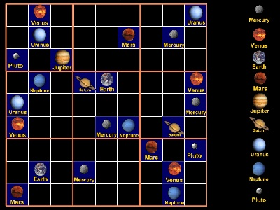 "Play our <a href=""/games/sudoku/sudoku.html"">Eight Planets and a Dwarf Sudoku</a>!  The regular rules of Sudoku apply - each planet can only appear once in each column or row, and only once in each 3x3 box.  Learn more about the planets, too!  You can vary the game from very easy to challenging.<p><small><em></em></small></p>"