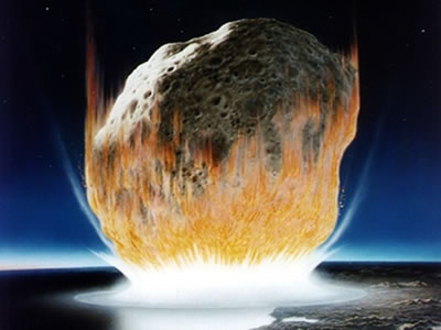 An artist's rendering of the moment of impact of a massive <a