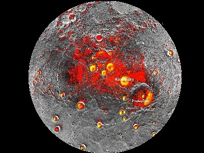 New observations by the MESSENGER spacecraft provide  support for the hypothesis that Mercury harbors abundant water ice and other frozen volatile materials in its permanently shadowed (shown in red) polar craters. Areas where polar deposits of ice imaged by Earth-based radar are shown in yellow.<p><small><em>Image courtesy of NASA/Johns Hopkins University Applied Physics Laboratory/Carnegie Institution of Washington/National Astronomy and Ionosphere Center, Arecibo Observatory</em></small></p>