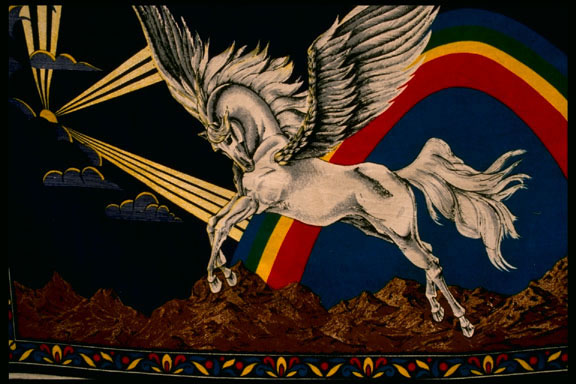 "Pegasus was a winged horse that came out of Medusa when she was be-headed by <a href=""/mythology/perseus.html"">Perseus</a>.