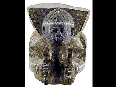 "<a href=""/mythology/shango_storm.html"">Shango</a> was the forth king of the ancient Oyo Empire, the West African center of culture and politics for the Yoruba people.After his death, he became known as the god of <a href=""/earth/Atmosphere/tstorm/tstorm_lightning.html"">thunder and lightning</a>. In artwork, such as this wood carving, he is often depicted with a double ax on his head, the symbol of a thunderbolt, or he is depicted as a fierce ram.<p><small><em>Image Courtesy of the Hamill Gallery of African Art, Boston, MA</em></small></p>"