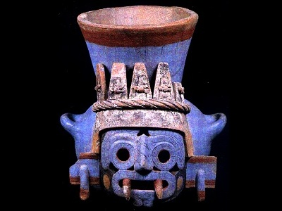 "<a href=""/mythology/tlaloc_rain.html"">Tlaloc</a> was an important deity of <a href=""/earth/Atmosphere/precipitation/rain.html"">rain</a> and fertility of the Aztec mythology, associated with caves, springs, and mountains. Tlaloc was depicted as a man wearing a net of <a href=""/earth/Atmosphere/cloud.html"">clouds</a>, a crown of heron feathers, foam sandals and carrying rattles to make thunder. While he was thought to sustain life, he was also feared for sending <a href=""/earth/Atmosphere/precipitation/hail.html"">hail</a>, <a href=""/earth/Atmosphere/tstorm/tstorm_lightning.html"">thunder and lightning</a>.  This image shows Tlaloc on a multicolor ceramic vessel from the Great Temple of Tenochtitlan.<p><small><em>Image courtesy of the Museo del Templo Mayor, Mexico.</em></small></p>"