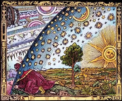 "For millennia, people have sought to understand the origin of the heavens, and the stars in the sky.  This image, entitled ""The Universe and Man"", is based on an earlier 16th century graphic and was later published by French astronomer Camille Flammarion in L'Atmosphre: Mtorologie Populaire (Paris, 1888).<p><small><em>Image courtesy of Photodisc, Inc.  </em></small></p>"