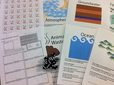 "Our <a href=""/teacher_resources/nitrogen_main.html&edu=elem&dev="">Traveling Nitrogen Game</a> makes a fun activity for students to learn about the <a href=""/earth/Life/nitrogen_cycle.html&edu=elem&dev="">nitrogen cycle</a>.  The activity includes a student worksheet (""Traveling Nitrogen Passport""), 11 reservoir signs, and stamps.  The activity is available in our <a href=""/php/teacher_resources/activity.php#8"">Classroom Activities section</a>, including a free html version, and a pdf version free for  <a href=""/new_membership_services.html&edu=elem&dev="">Windows to the Universe subscribers</a>.  The Traveling Nitrogen Game Kit is available in our <a href=""/store/home.php"">online store</a>, including laminated signs and a set of 11 dice.<p><small><em></em></small></p>"