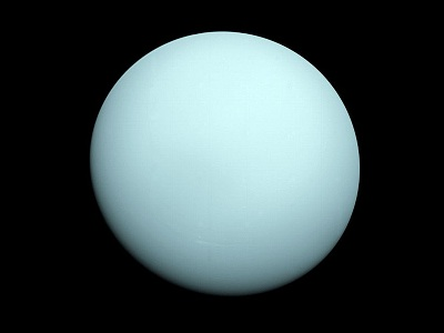"The plain aquamarine face of Uranus confirms the fact that Uranus is covered with <a href=""/uranus/atmosphere/U_clouds_overview.html"">clouds</a>. The sameness of the planet's appearance shows that the planet's atmosphere is mostly <a href=""/uranus/atmosphere/U_atm_compo_overview.html"">composed</a> of one thing, methane. The planet appears to be blue-green because the <a href=""/physical_science/chemistry/methane.html"">methane</a> gas of the atmosphere traps red light and does not allow that color to escape. This image was taken by <a href=""/space_missions/voyager.html"">Voyager 2</a> in 1986.<p><small><em>Image courtesy of NASA</em></small></p>"